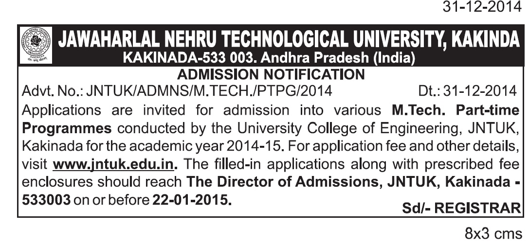 jntuk admission notificaion-PTPG