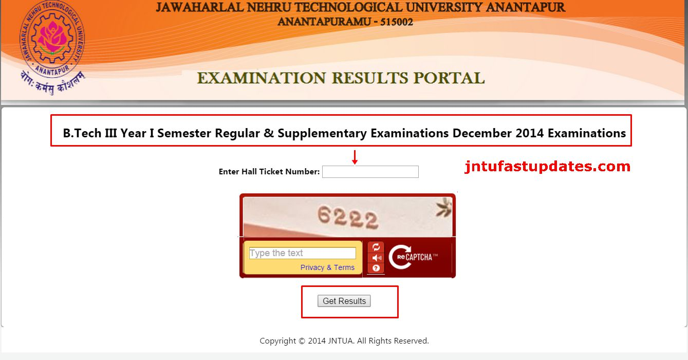 JNTUA B.Tech 3-1 sem (R09) Reg & Supple Exams Results Dec 2014 released