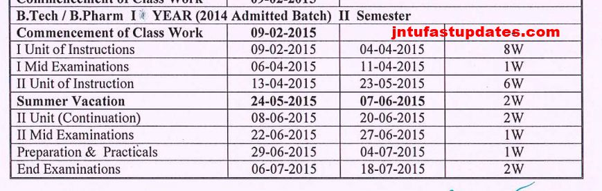 revised academic calendar 2015 1st year