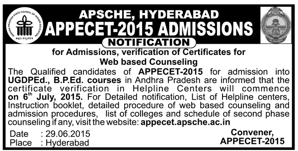 AP PECET 2015 Web Counselling Schedule