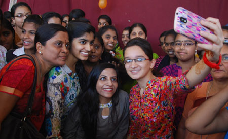 Civil topper Ira Singhal interacted with the students