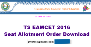 Telangana TS EAMCET III 2016 Seat Allotment Order Download Rank Wise @ medadm.tsche.in