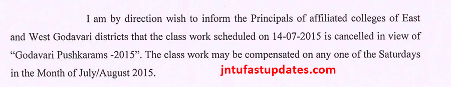 class work scheduled on 14-07-2015 is cancelled
