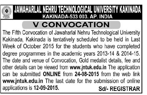 JNTUK Fifth Convocation Notification