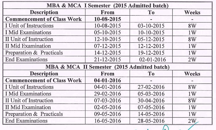 Prposed Academic Calendar MBA & MCA I sem & II sem