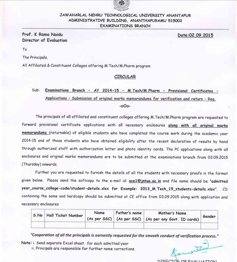 JNTUA M.Tech_M-Pharm Provisional Certificates Applications Submission