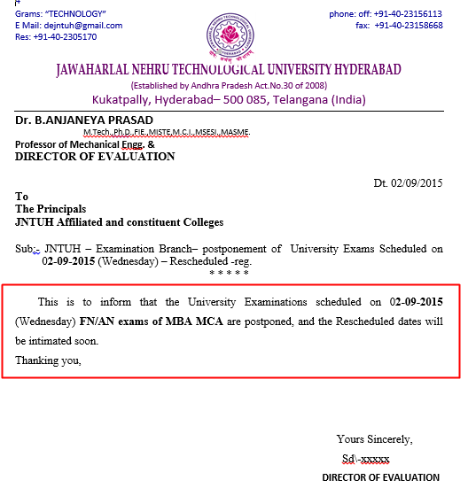 JNTUH MBA and MCA Examinations Scheduled on 02-09-2015 are Postponed