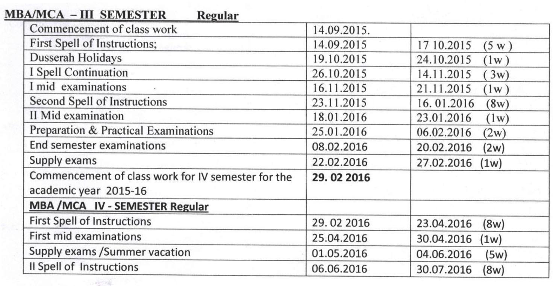 jntuh mba-mca-academic calender 2015-16