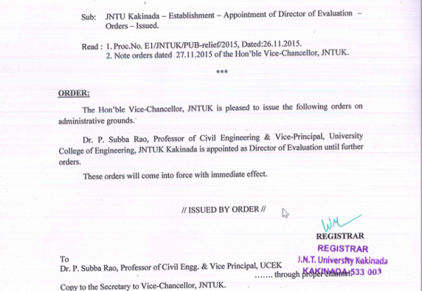 JNTU Kakinada - Establishment Appointment of Director of Evaluation - Orders - Issued