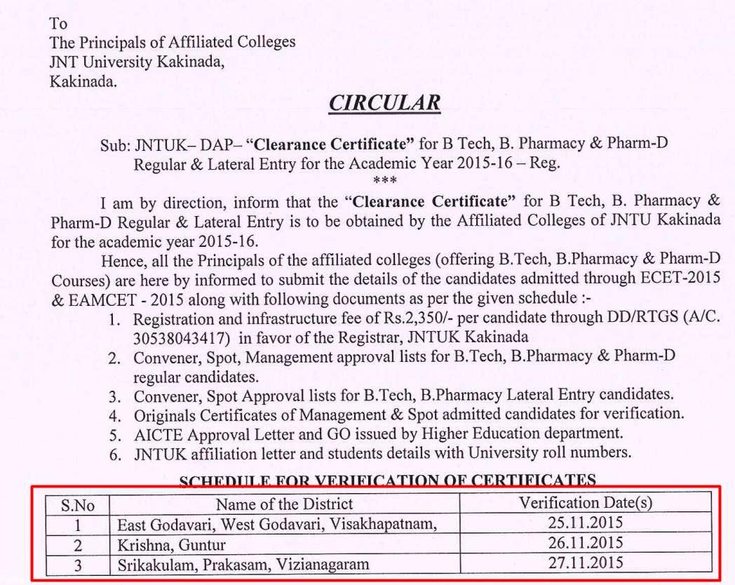 JNTUK Clearance Certificate a.y 2015-16