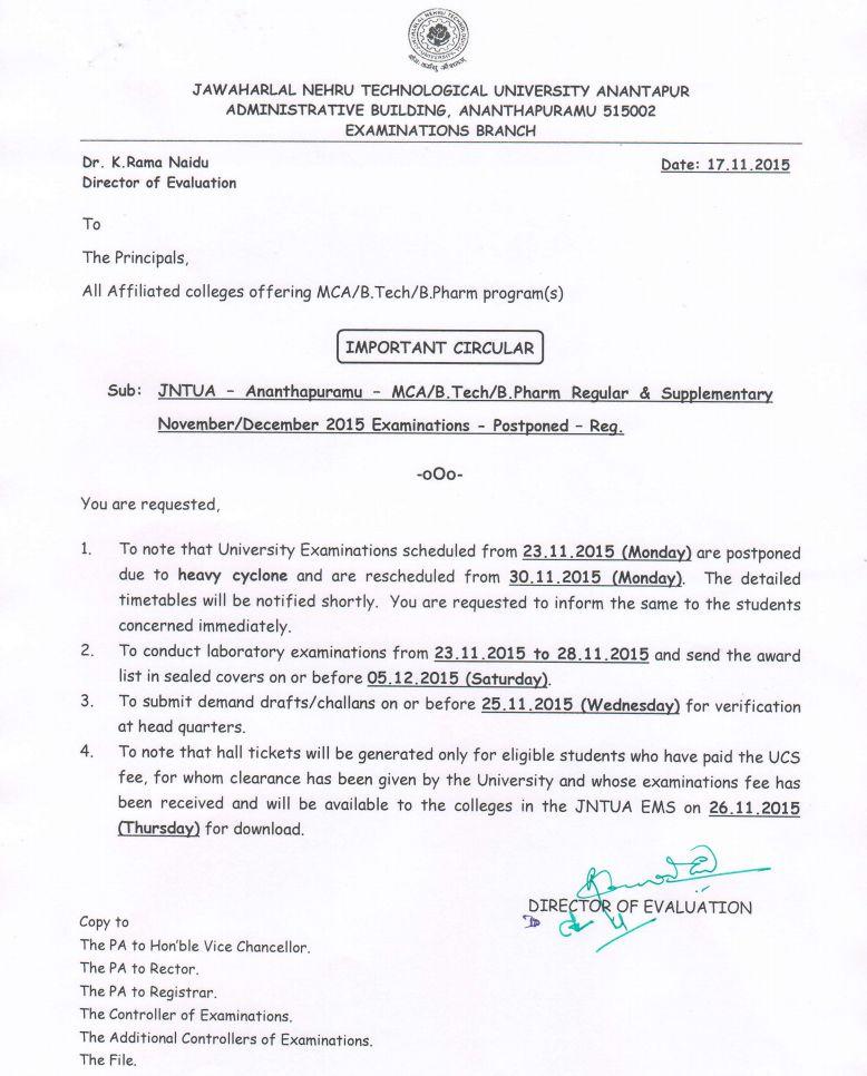 jntua exams postponed nov-dec 2015