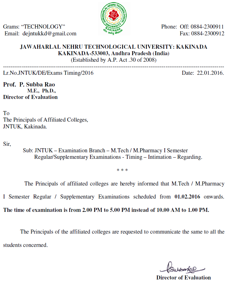 JNTUK M.Tech M.Pharmacy I Sem RegularSupply Exams - Timing