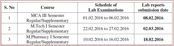 lab exam schedule feb 2016
