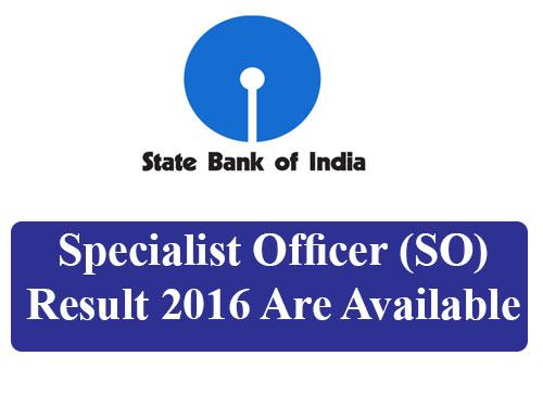 SBI SO Results 2016