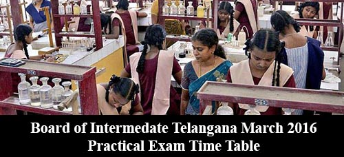 Board of Intermedate Telangana March 2016 Practical Exam Time Table