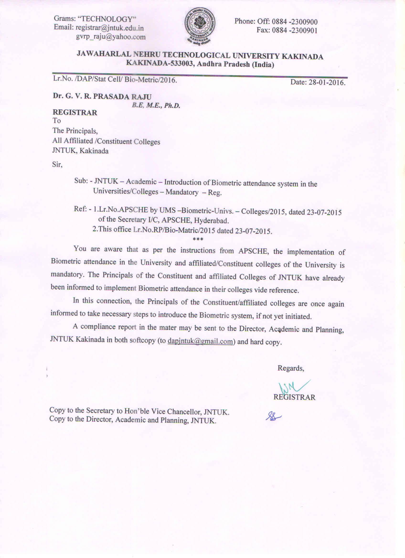 Jntuk Letter  Introduction Of BioMetric Attendance System Mandatory