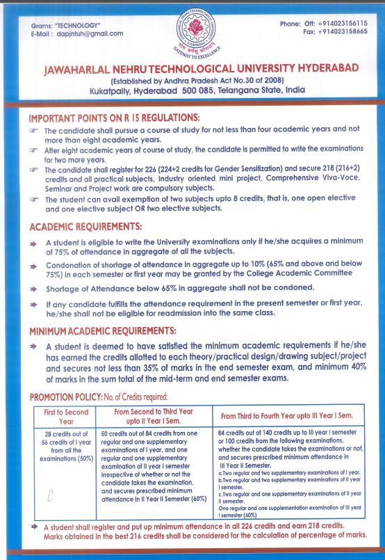 jntuh r15 regulation poster