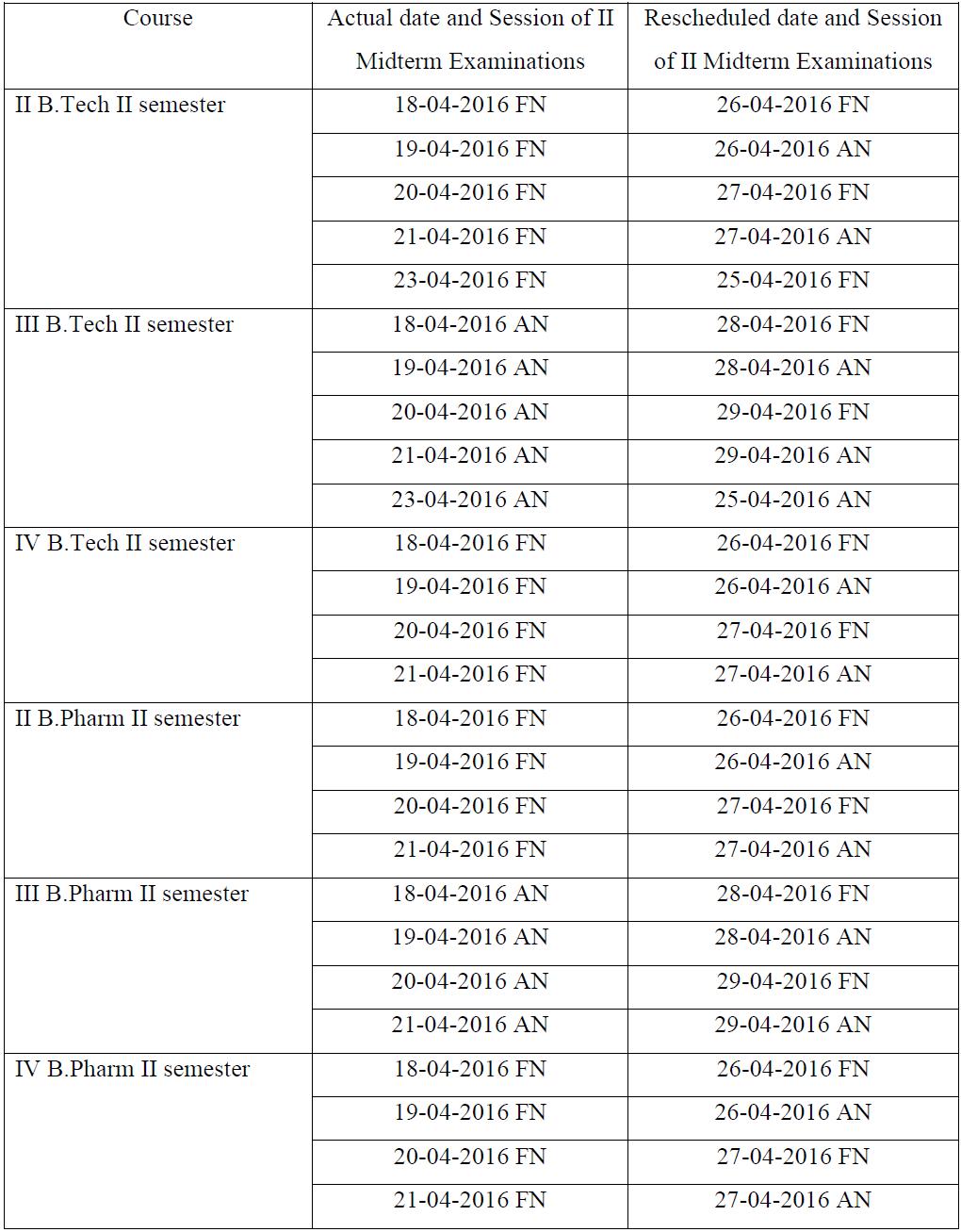 jntuh 2nd mid exam dates