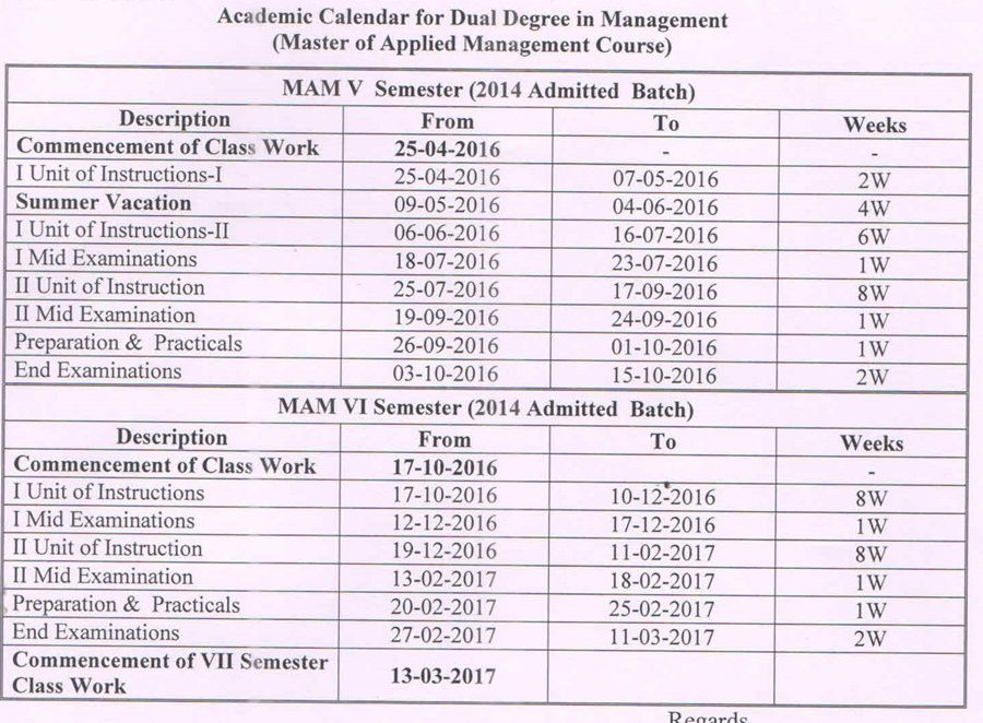 Academic Calender for MAM (V & VI Sems-2014 Admit Bach)