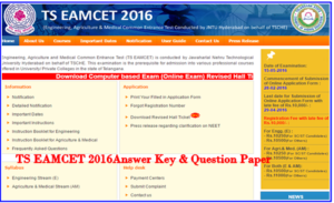 TS EAMCET 3 Answer key 2016 Download SET A, B, C, D with Solutions & Q.P