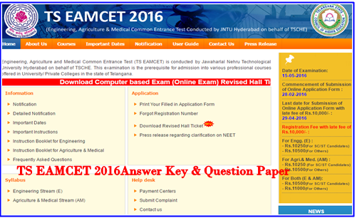 TS EAMCET 2016 Answer Key