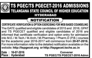 TS PGECET/TS PGEC 2016 Exercising web options Schedule