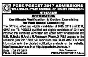 TS PGECET/PGEC 2017 Counselling Dates Rank Wise, Certificate verification, Web Options