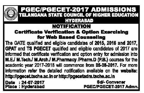 ts pgecet counselling notification 2017