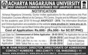ANU PGCET 2018 Notification, Online Registration, Exam Dates @ www.anudoa.in