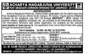 ANU PGCET 2017 Notification, Online Registration, Exam Dates @ anupgcet.in