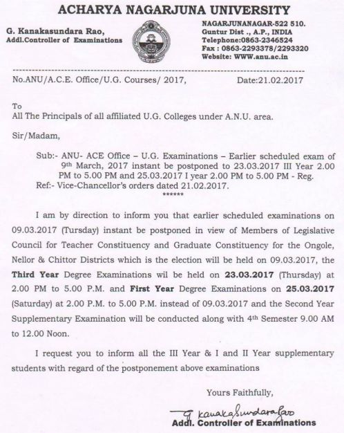 Postponement of Degree 1st and 3rd year Examinations, 2017