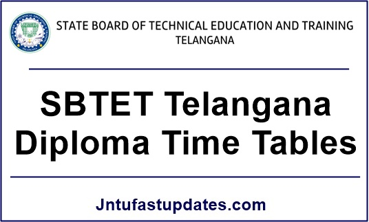 Sbtet TS diploma time tables 2017