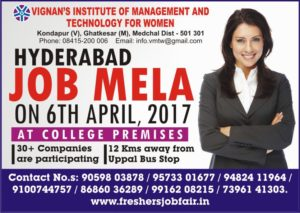 Job Mela on 6th April @ Vignan Institute of Management & Technology, Hyderabad