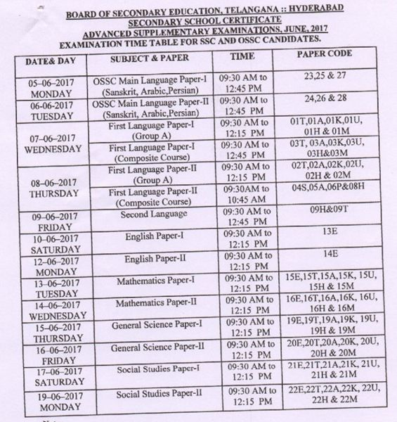 ts ssc advanced supply time table 2017