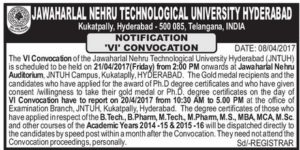 JNTUH VI Convocation is Scheduled to be held on 21-04-2017 (Friday) from 2 pm onwards