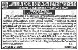 JNTUH VII Convocation is Scheduled to be held on 09-05-2018 (Wednesday) from 2 pm onwards