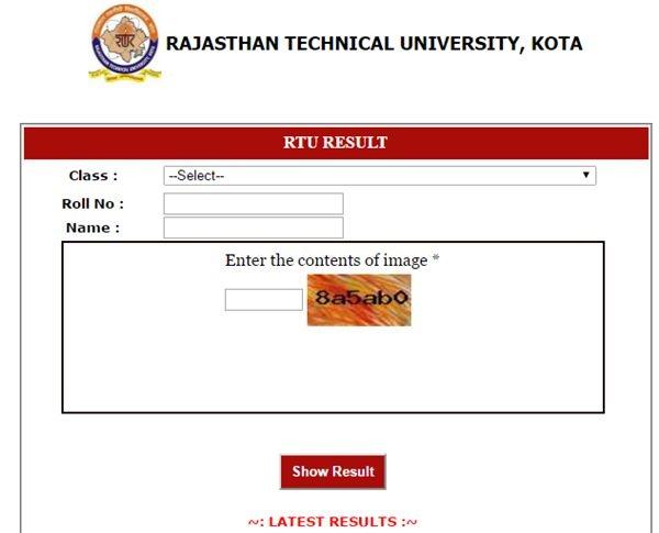 RTU-B.Tech-1st-Sem-Result-2018