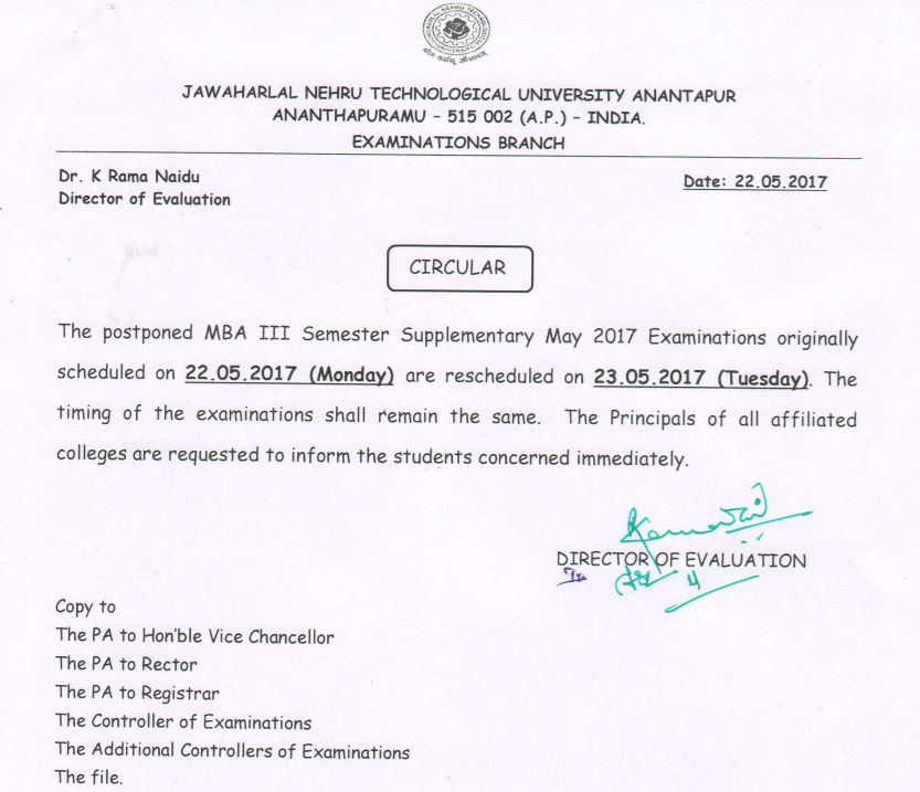 JNTUA Postponed MBA III Sem Exams on 22-05-2017 Are Rescheduled to 23-05-2017