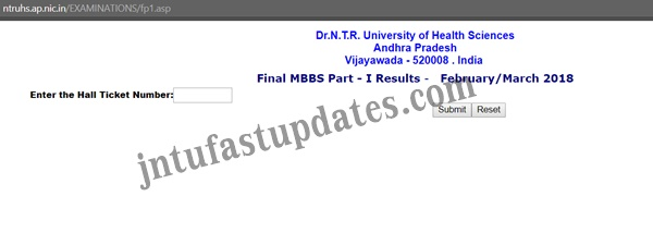 Dr NTR University Final MBBS Part-I Results Feb/March 2018