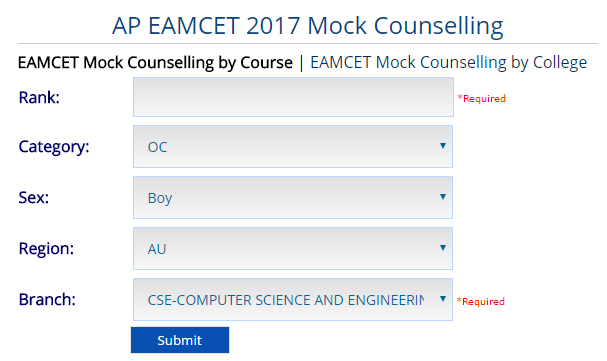 AP EAMCET 2017 Mock Counselling