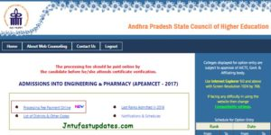 AP EAMCET 2017 Web Counselling Registration Fee Online Payment Procedure @ apeamcet.nic.in