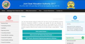 JoSAA First Round Seat Allotment Results 2017 Declared – Check 1st Round Allotment Order @ josaa.nic.in