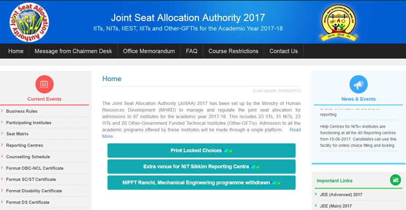 JoSAA Seat Allotment Results 2017