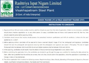Vizag Steel Plant Recruitment 2017 – Apply Online For 647 Junior Trainees and 91 Field Assistant Trainee Posts at www.vizagsteel.com