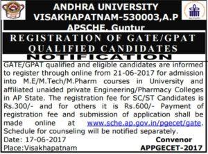 AP PGECET 2017 GATE/GPAT Notification, Online Registration Procedure @ sche.ap.gov.in