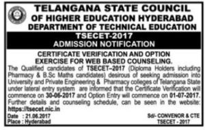 TS ECET Counselling Dates 2017, Schedule Rank Wise, Certificate Verification @ tsecet.nic.in