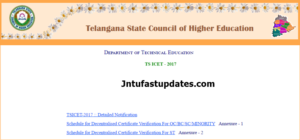 TS ICET 2017 Final Phase Counselling Dates Rank Wise, Certificate Verification @ tsicet.nic.in