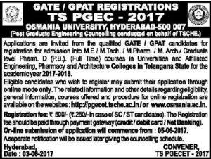 TS PGECET 2017 GATE/GPAT Notification, Online Registration Procedure @ pgecet.tsche.ac.in