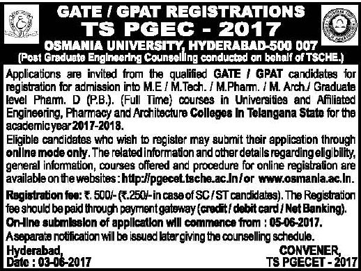 ts pgecet gate notification 2017