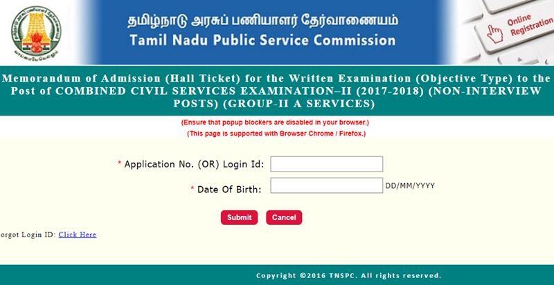 TNPSC Group 2a Hall Ticket 2017 Download Here - Tamil Nadu PSC CCSE